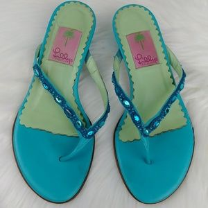 Lilly Pulitzer Jeweled Kitten Heel Thong Sandals